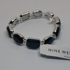 Nine West Silver Tone Stretch Bracelet